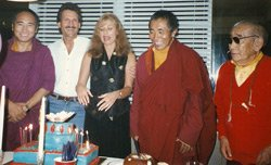His Eminence, Khenchen Palden Sherab Rinpoche, Ven Khenpo Tsewang, Jonathan and Nancy Ash from their private collection