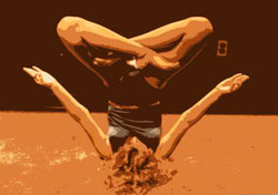 When Soul meets body - advanced hatha yoga pose of the shoulder stand from Rev. Nancy's collection